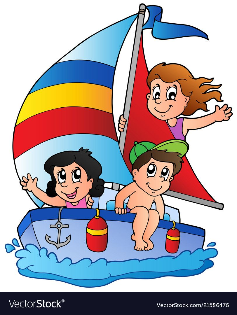 Yacht With Three Kids Vector Illustration Download A Free Preview Or High Quality Adobe Illustrator Ai Eps Pdf An Kids Vector Boat Cartoon Murals For Kids