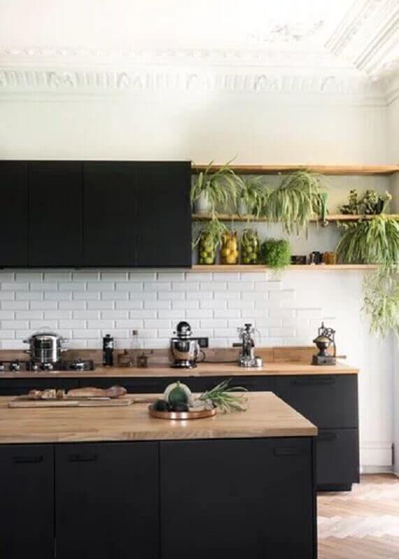 Armário de Cozinha Preto: +63 Modelos para se Inspirar