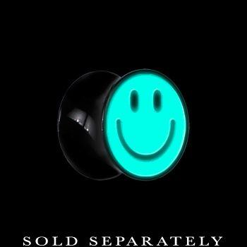 00 Gauge Black Acrylic Glow in the Dark Smiley Face Saddle Plug | Body Candy Body Jewelry