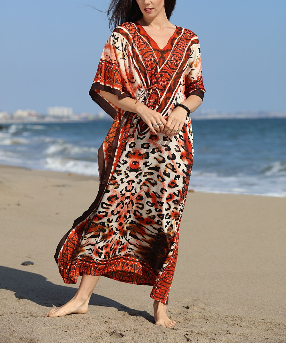 Red & Brown Abstract Maxi Caftan