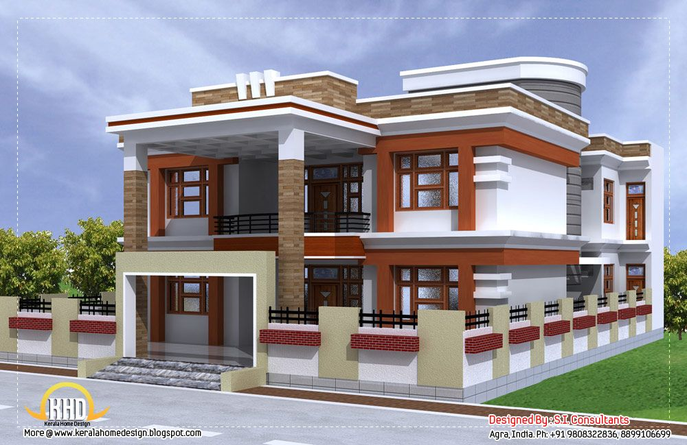 Sq ft beautiful double story house plan indian home decor House designs indian style pictures