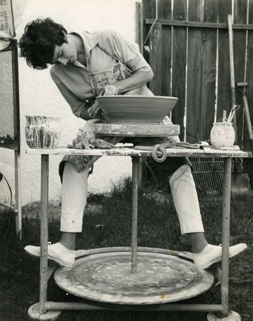 Elaine Katzer  |  Here at Susan Peterson's kick wheel in her Southern California backyard. I love every single thing this image conjures up—California pottery at mid-century, the artist in her natural environment, the earthy, primitive nature of working on a kick-wheel, being able to do pottery in your backyard!!