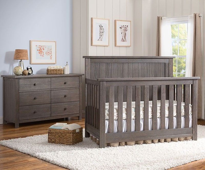 Serta Northbrook 2 Piece Nursery Set Crib And Double Dresser In Rustic Grey