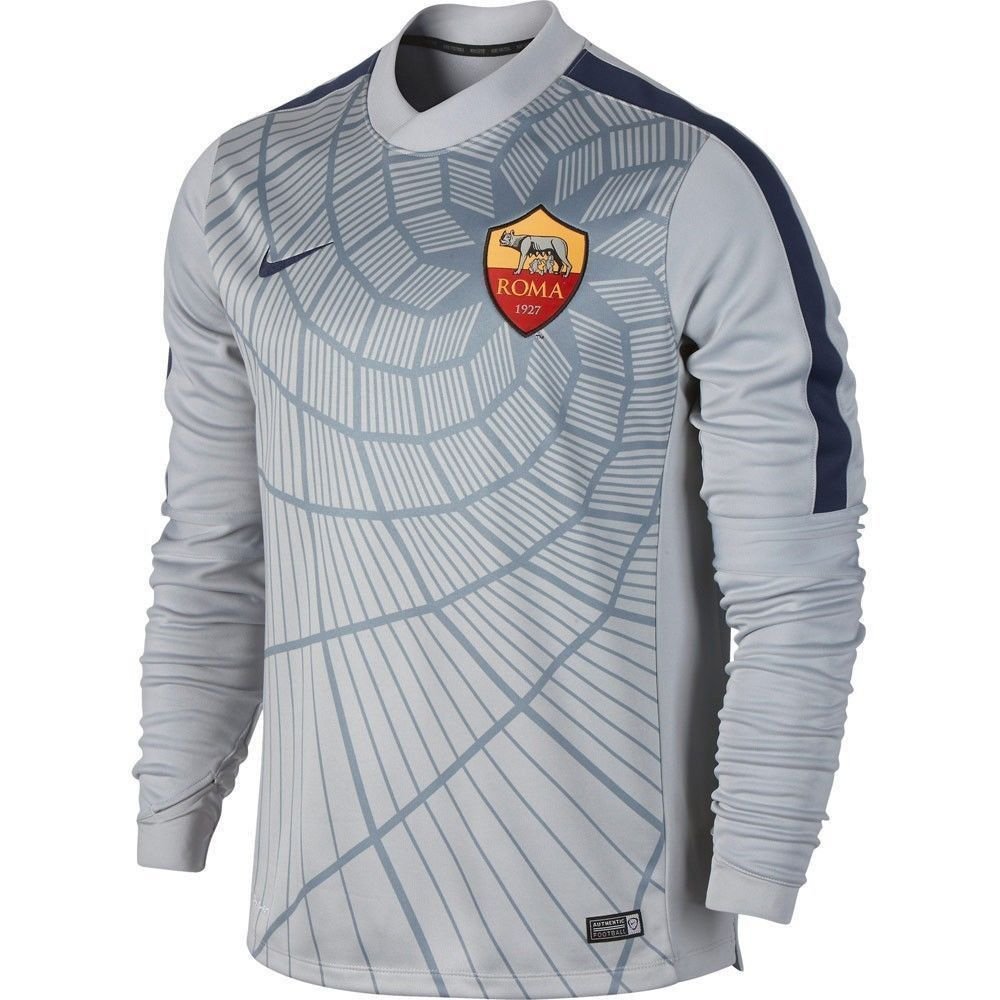 finest selection 1ba61 762ef NIKE AS ROMA LONG SLEEVE THERMAL PRE MATCH TOP GrayNavy ...
