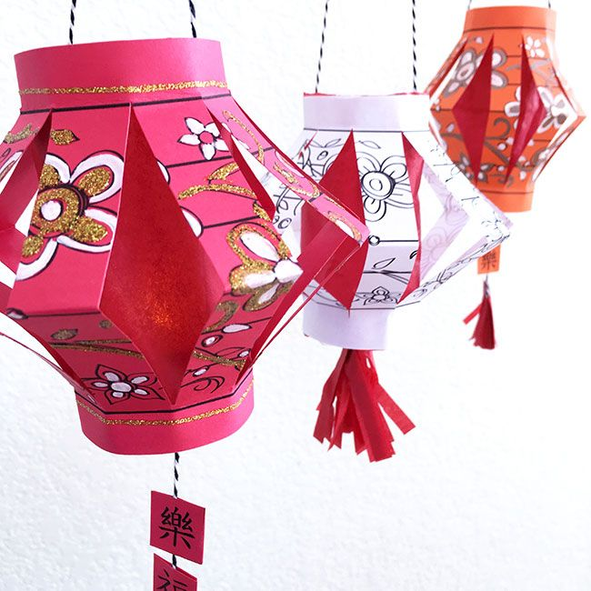 Diy Paper Chinese Lantern With Free Printable Download Chinese