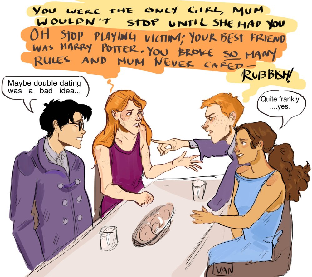 Van S Scribbles I Just Feel Like Ron And Ginny Would Be The Most Harry Potter Funny Harry Potter Jokes Harry Potter Puns