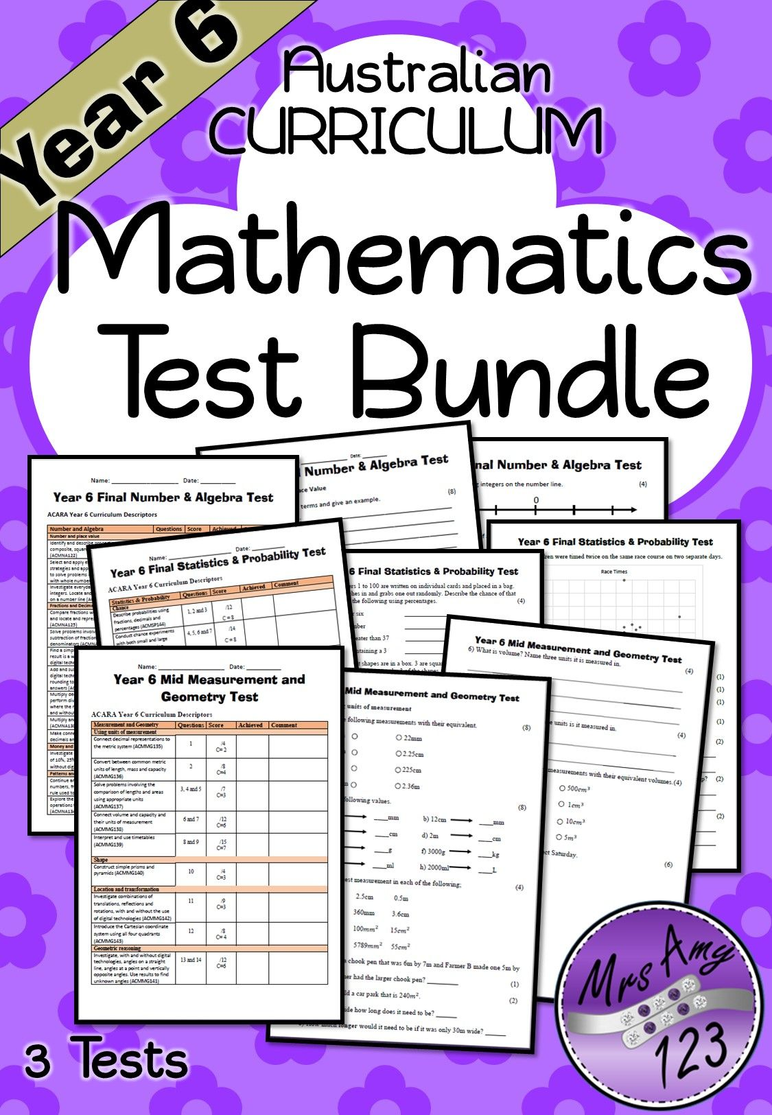 Year 6 Mathematics Test Bundle