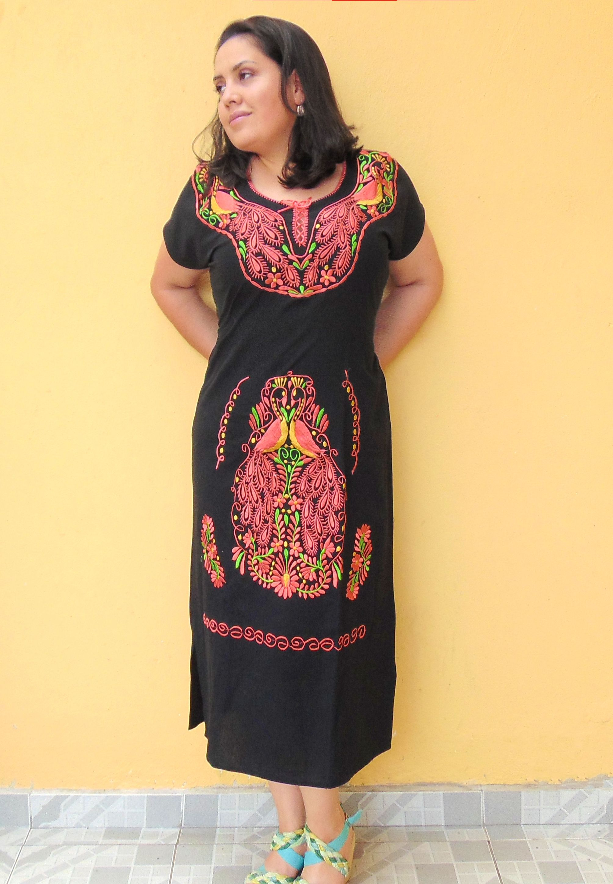 Mexican Dress Traditional Embroidered For Women Vestido Mexicano Fiesta Mexicana Frida Kahlo Tehuana