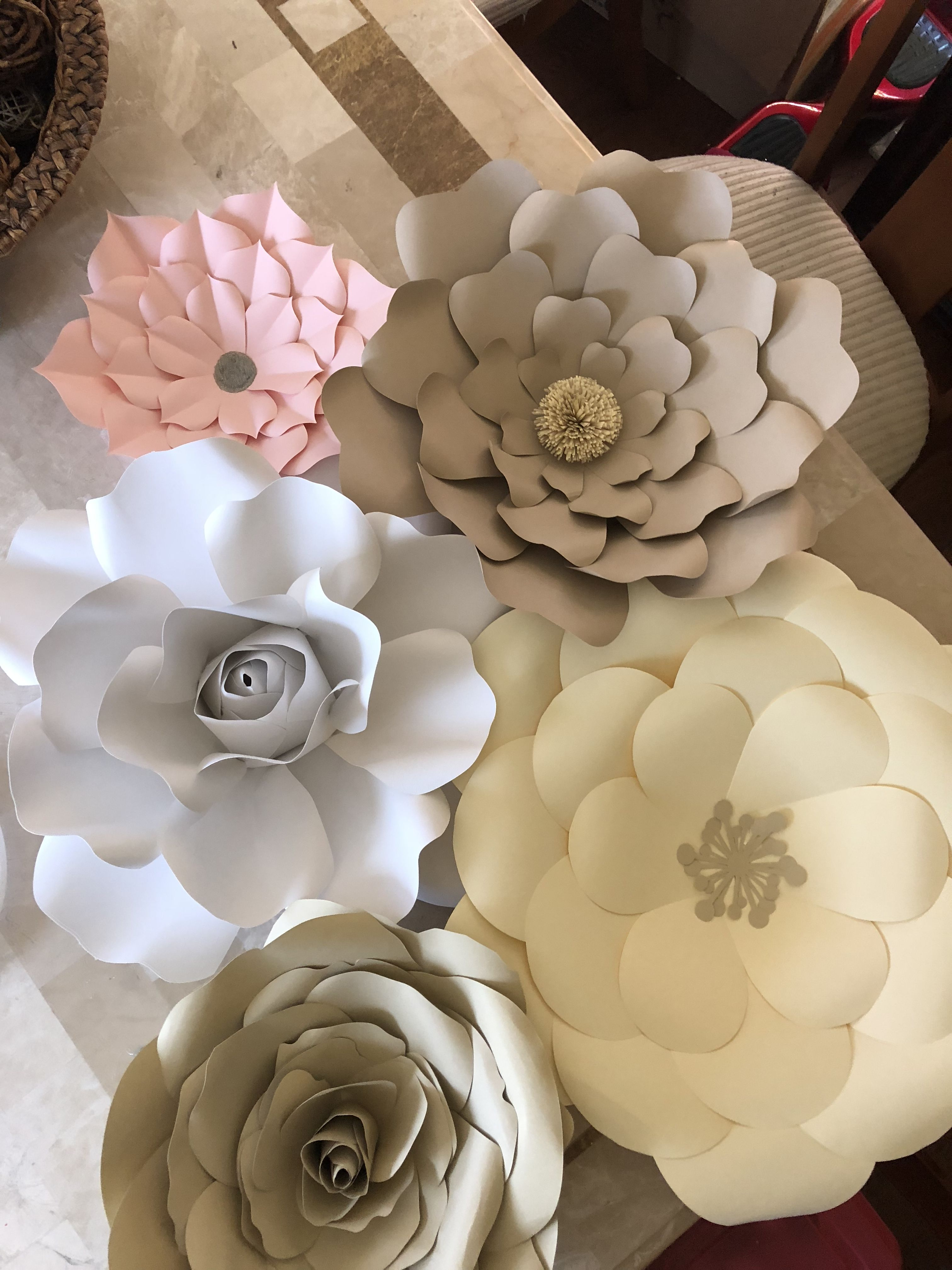 Pink Button Cardstock Paper Flowers Paper Roses Paper Flowers