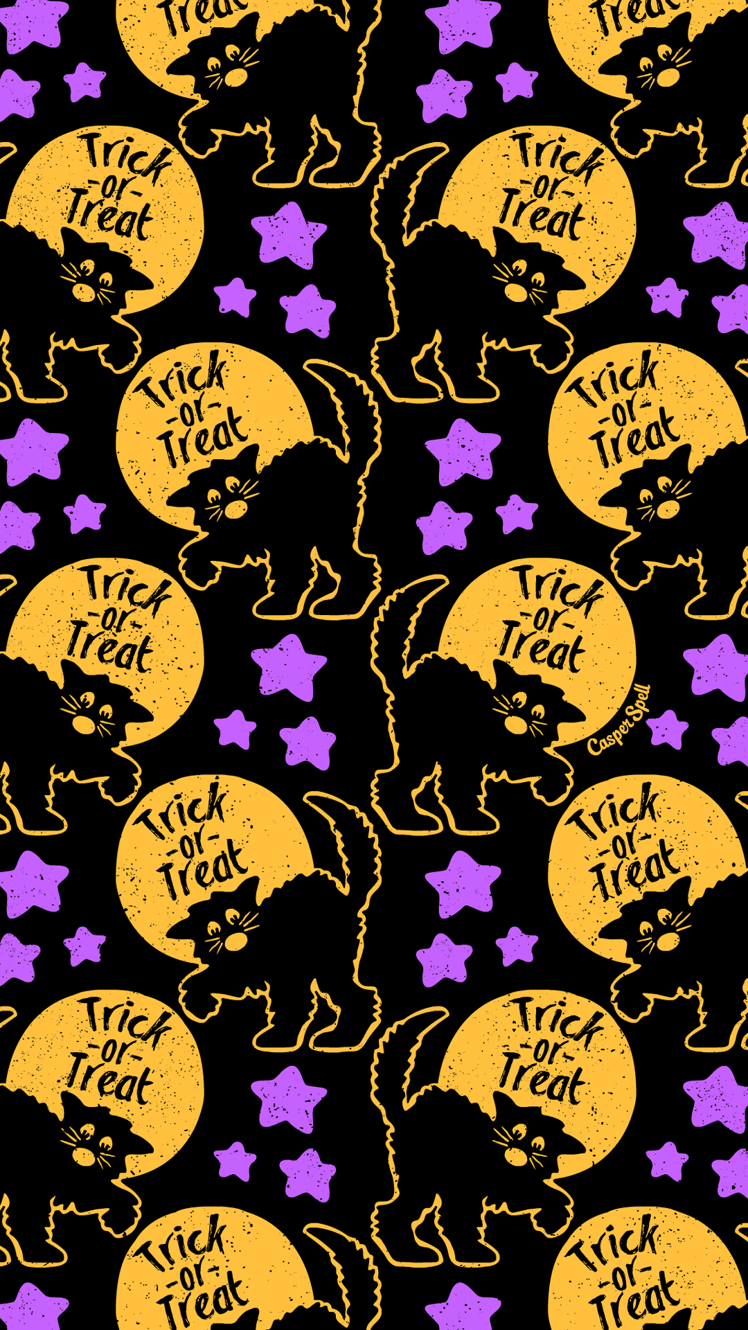 Casperspell We Re Nearly Halfway To Halloween Here S A Retro Black Cat Pattern For You Feel F Halloween Wallpaper Halloween Backgrounds Spooky Background