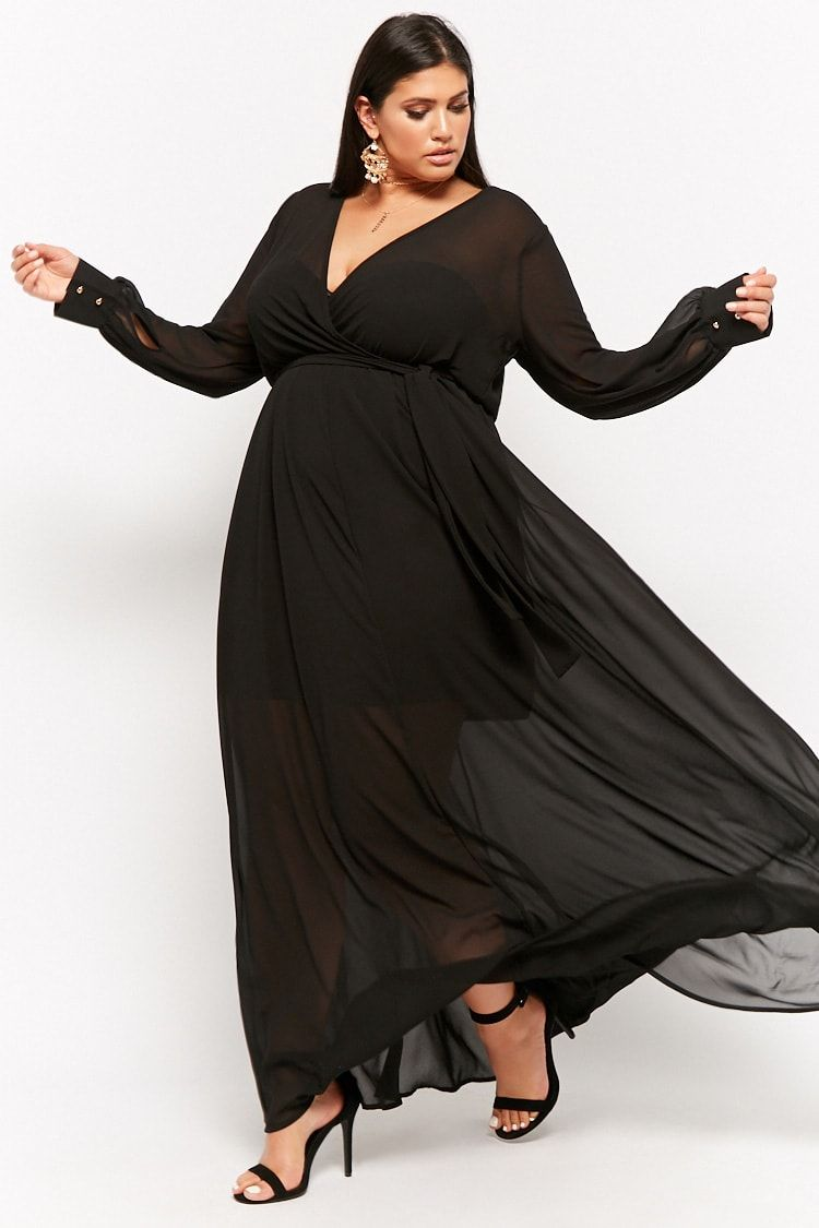 Plus Size Sheer Surplice Maxi Dress | Plus Size Fashion | Dresses ...