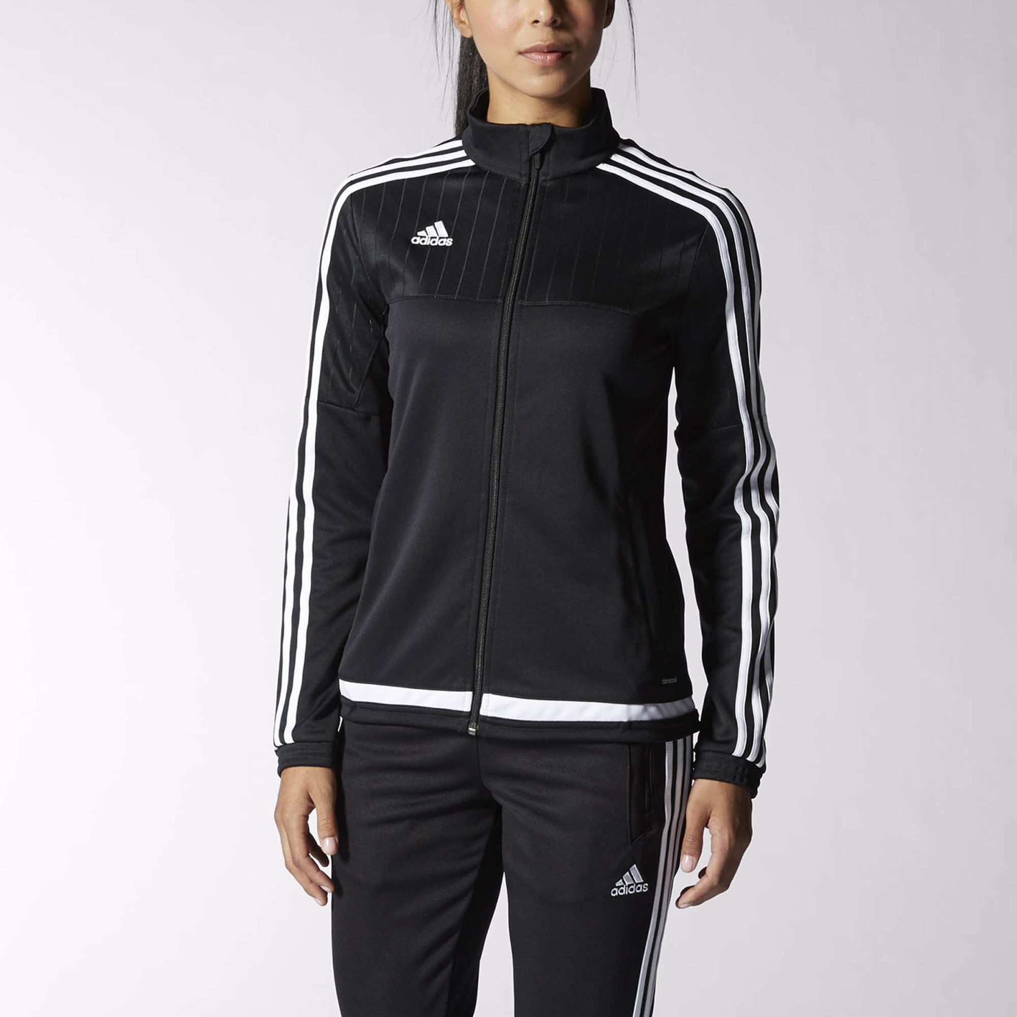 This women's soccer jacket keeps you covered when you're