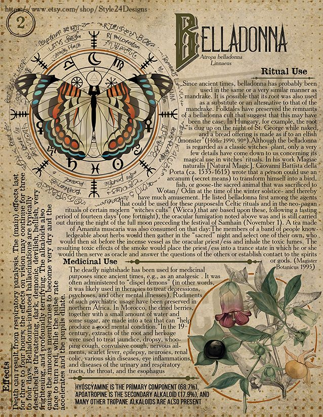 Belladonna 2, Book of Shadows page, Ritual Poisonous Plants