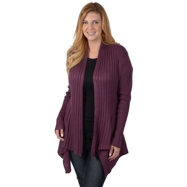 dc59935801 Timeless Comfort by Journee Women s Plus Size Ribbed Long Sleeve Open...  ( 40