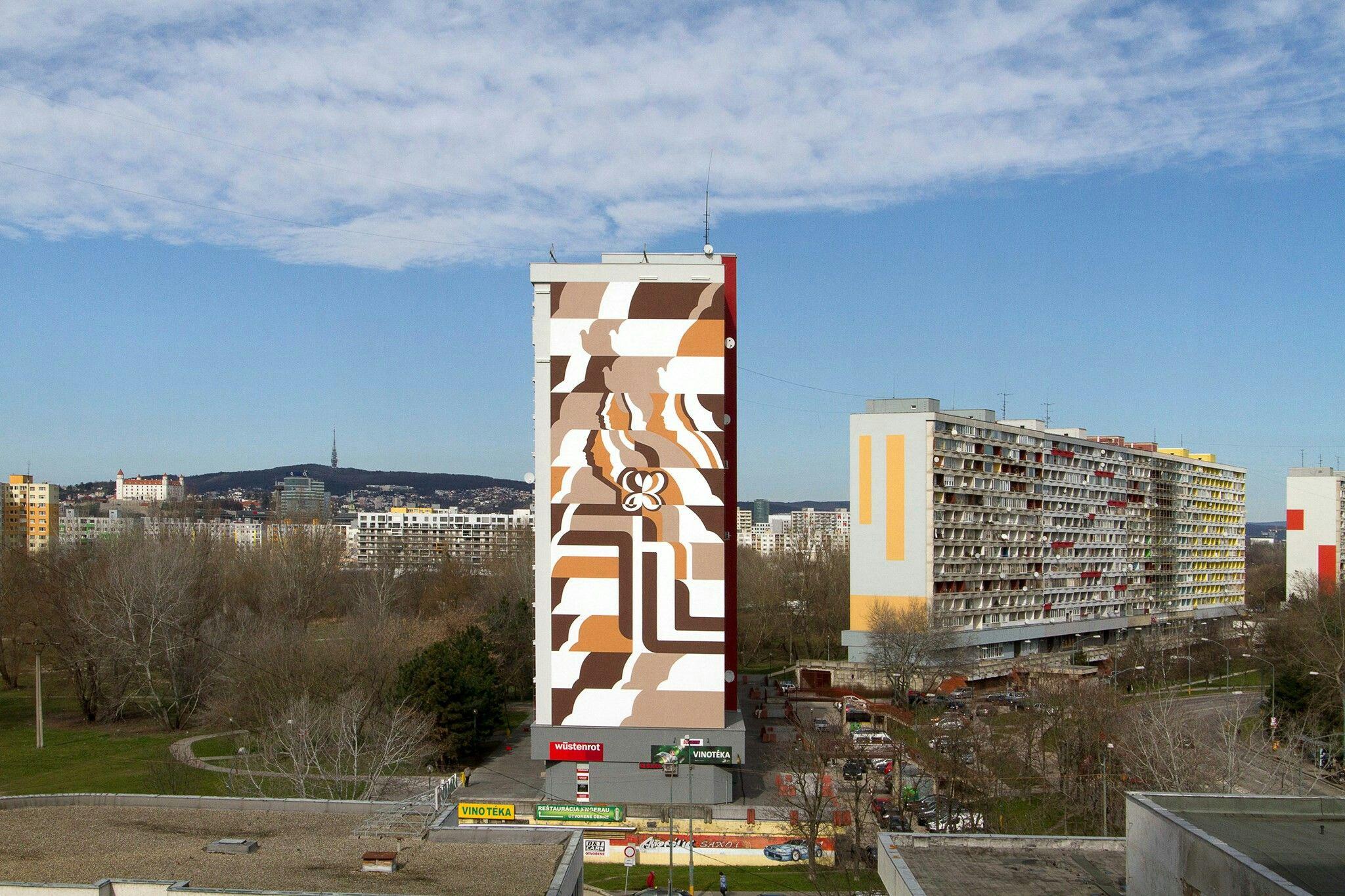 """""""Mier"""" (Peace) #streetart in Bratislava (Petržalke), Slovakia.  Photo by Zachráňme poslednú petržalskú monumentálnu maľbu."""