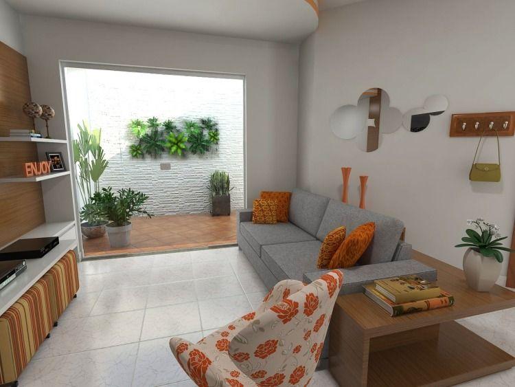 kleines Wohnzimmer mit orangen Akzenten Sala Estar Pinterest - kleines wohnzimmer modern einrichten