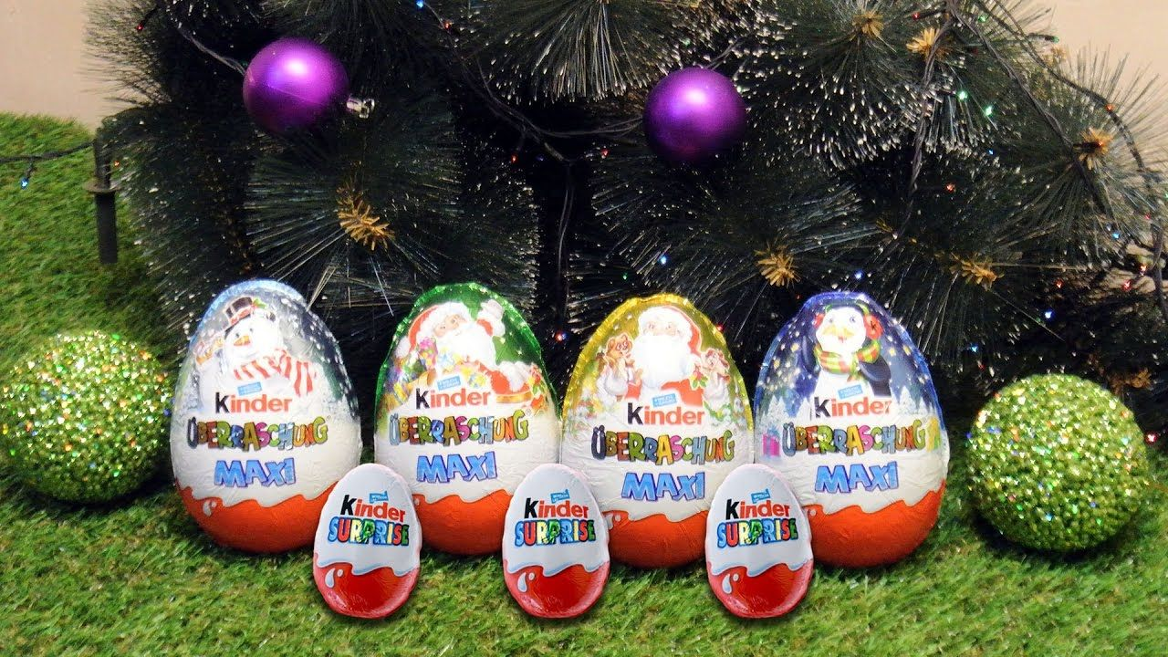 4 Kinder Surprise Maxi Eggs unboxing. Christmas Series 2017 Surprise ...