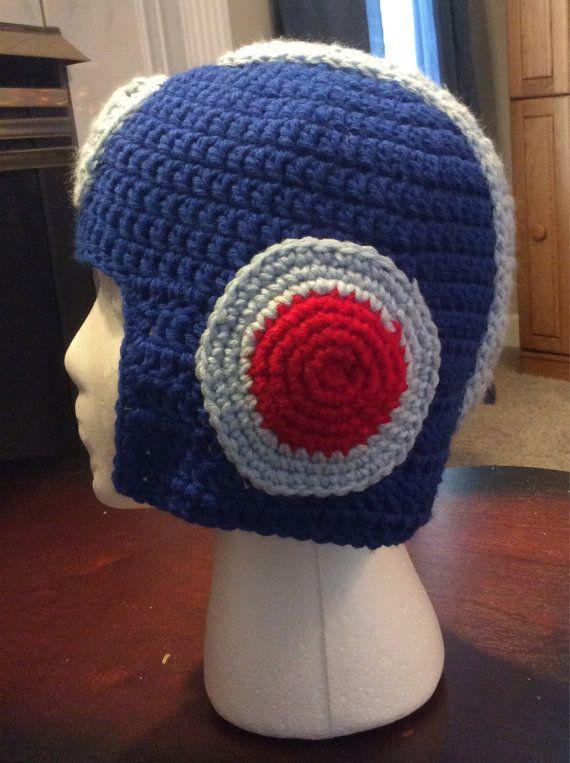 274bf73a1d5 Megaman Crocheted Hat Gamer Helmet Beanie on Etsy