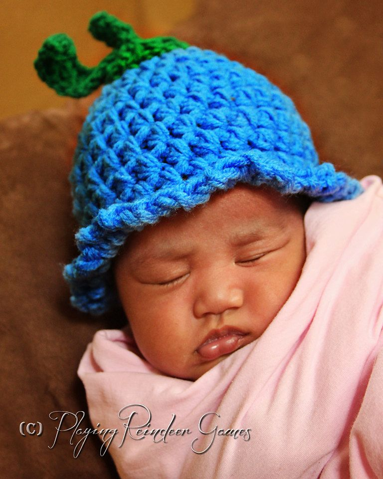 Newborn Blueberry / Bluebell Crochet Hat Photography Prop. $15.00, via Etsy.