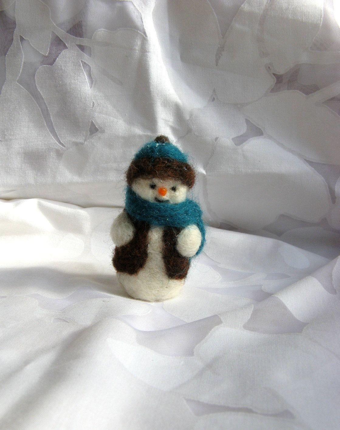 Needle Felted Snowman. $17.00, via Etsy.