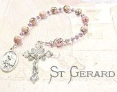 ST GERARD Pregnant Mothers CHAPLET with Rhodonite Gemstones and Crystals and St Gerard Medal