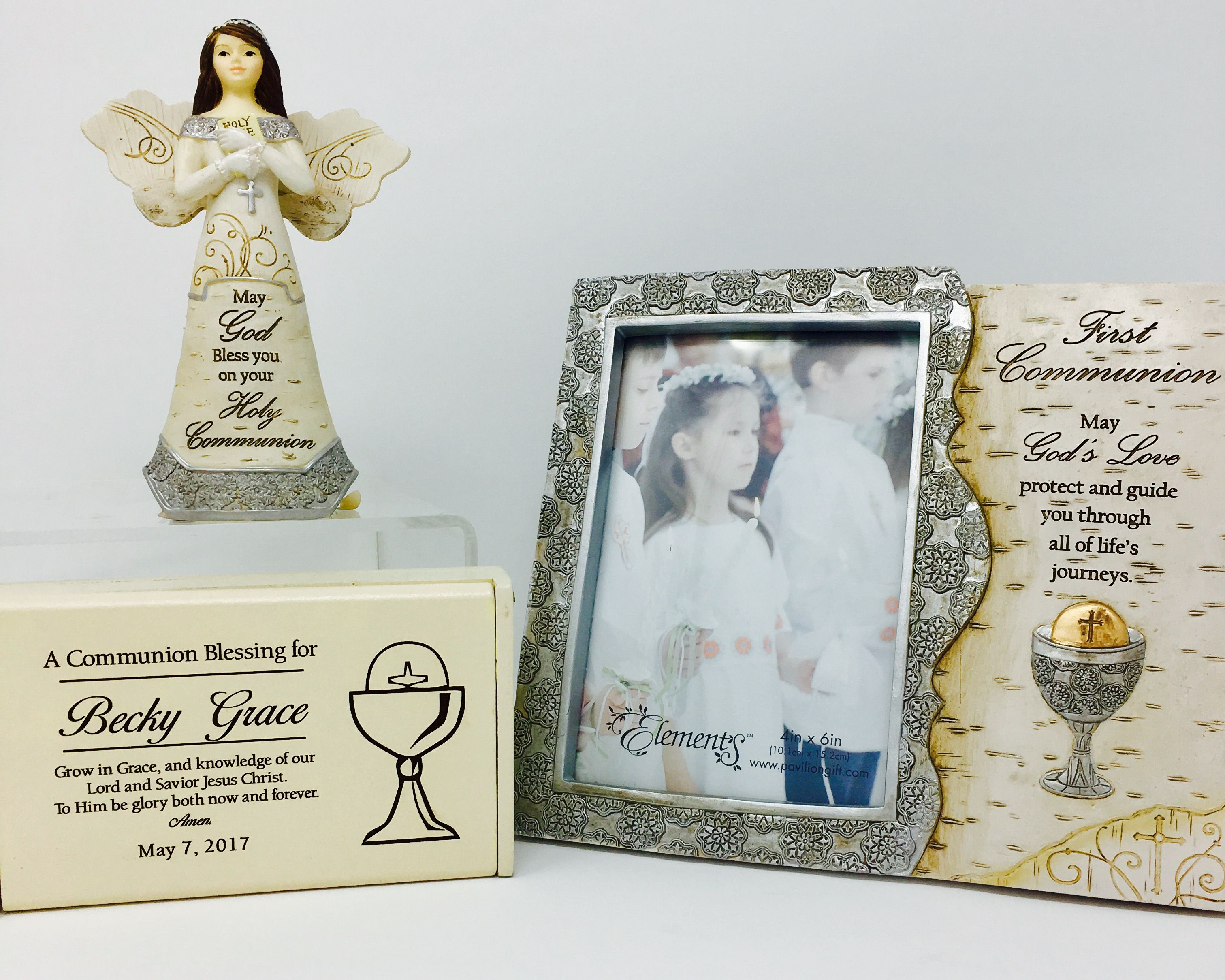 First communion gifts. Angel, frame, rosary box. 3501 James St ...
