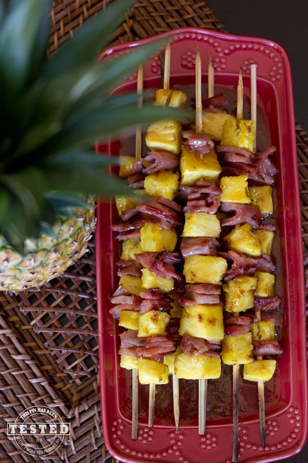 Ham and pineapple chunks grilled on kabobs - Thanksgiving.com