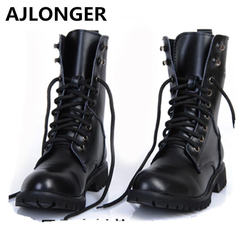 In Black Boots Genuine Motorcycle Leather 2019 Men pUVqGSzM