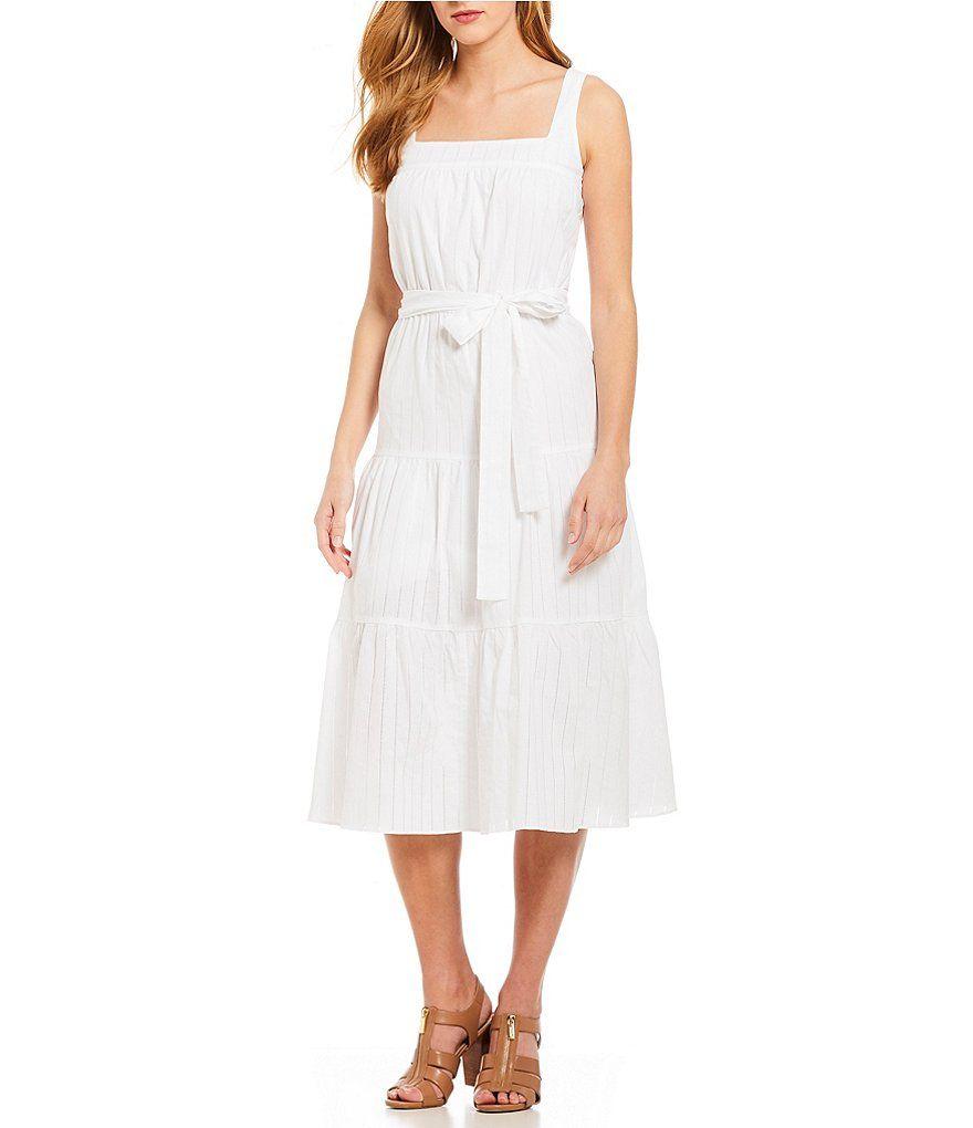 e7f73c420c8 MICHAEL Michael Kors Square Neck Tiered Midi Dress Dillards