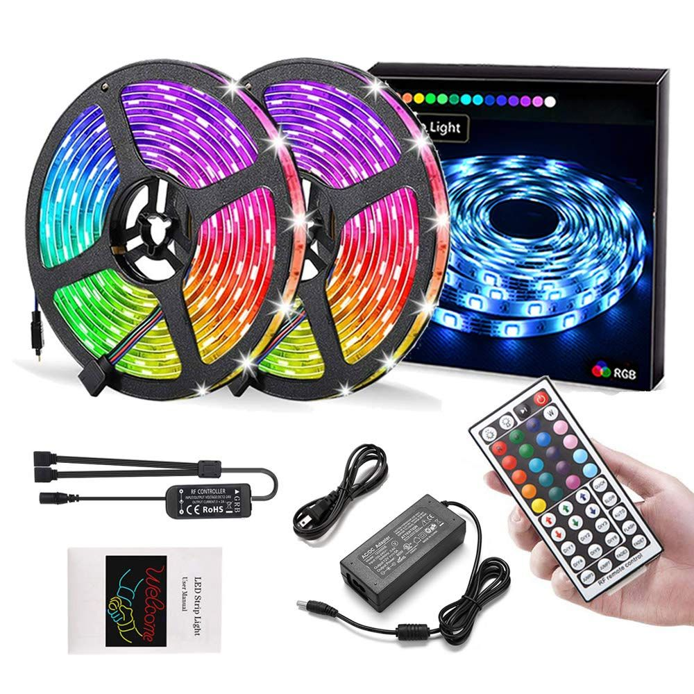 Led Strip Lights 32 8ft 10m Rgb 5050 Leds Color Changing Full Kit Led Rope Lights Flexible Tape Light Kit With 44 Keys Rf In 2020 Led Rope Lights Led Rope Tape Lights