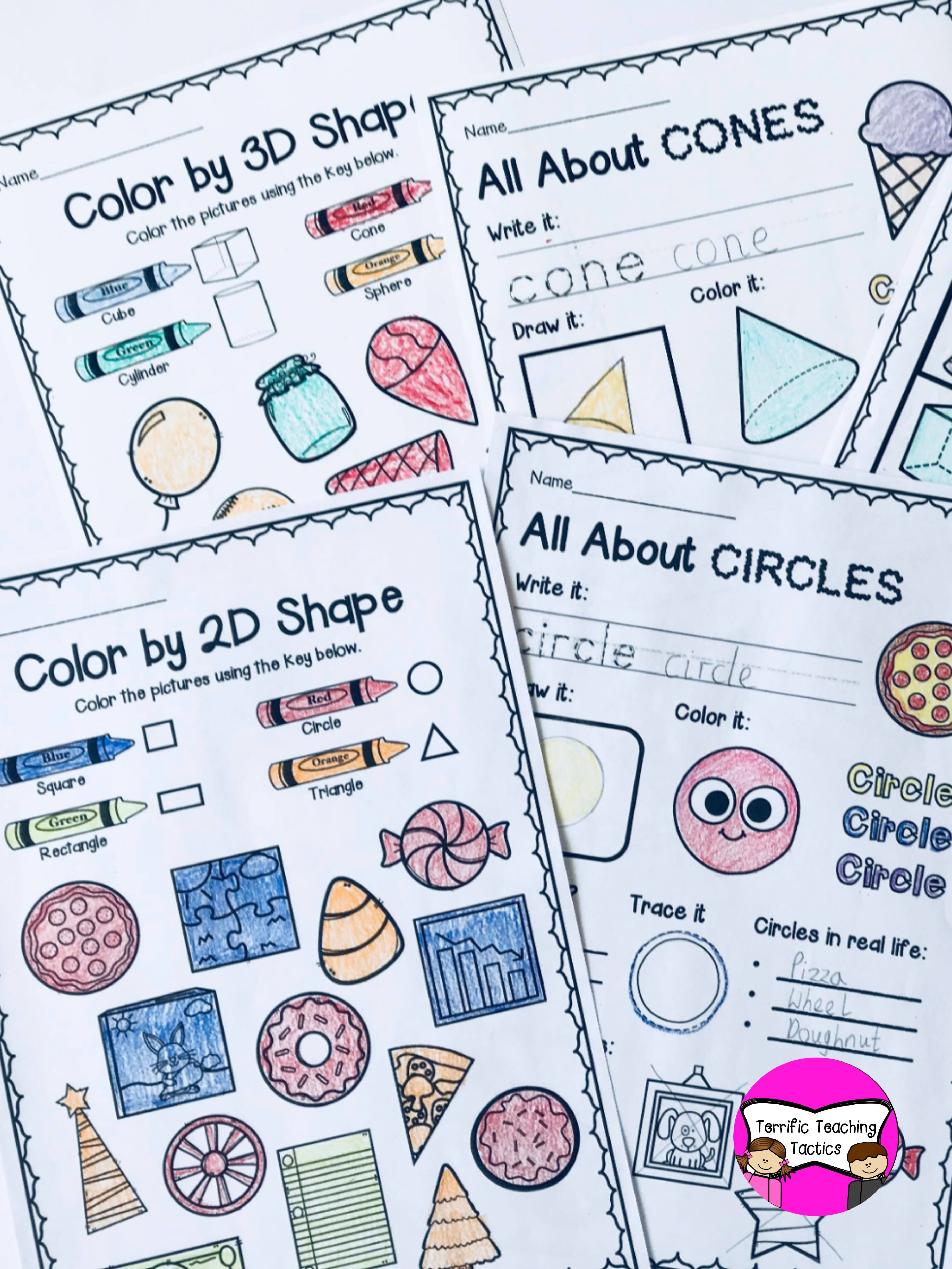 2d And 3d Shape Worksheets Bundle In