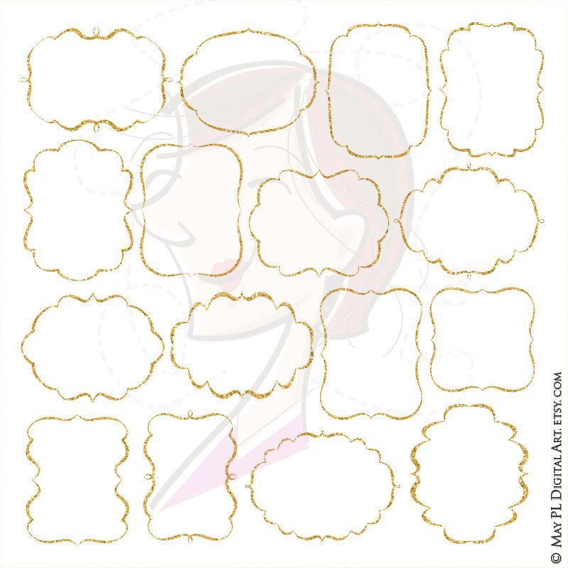 Glitter Frame Clipart Gold Sparkle Border Frames LARGE 10 INCH ...