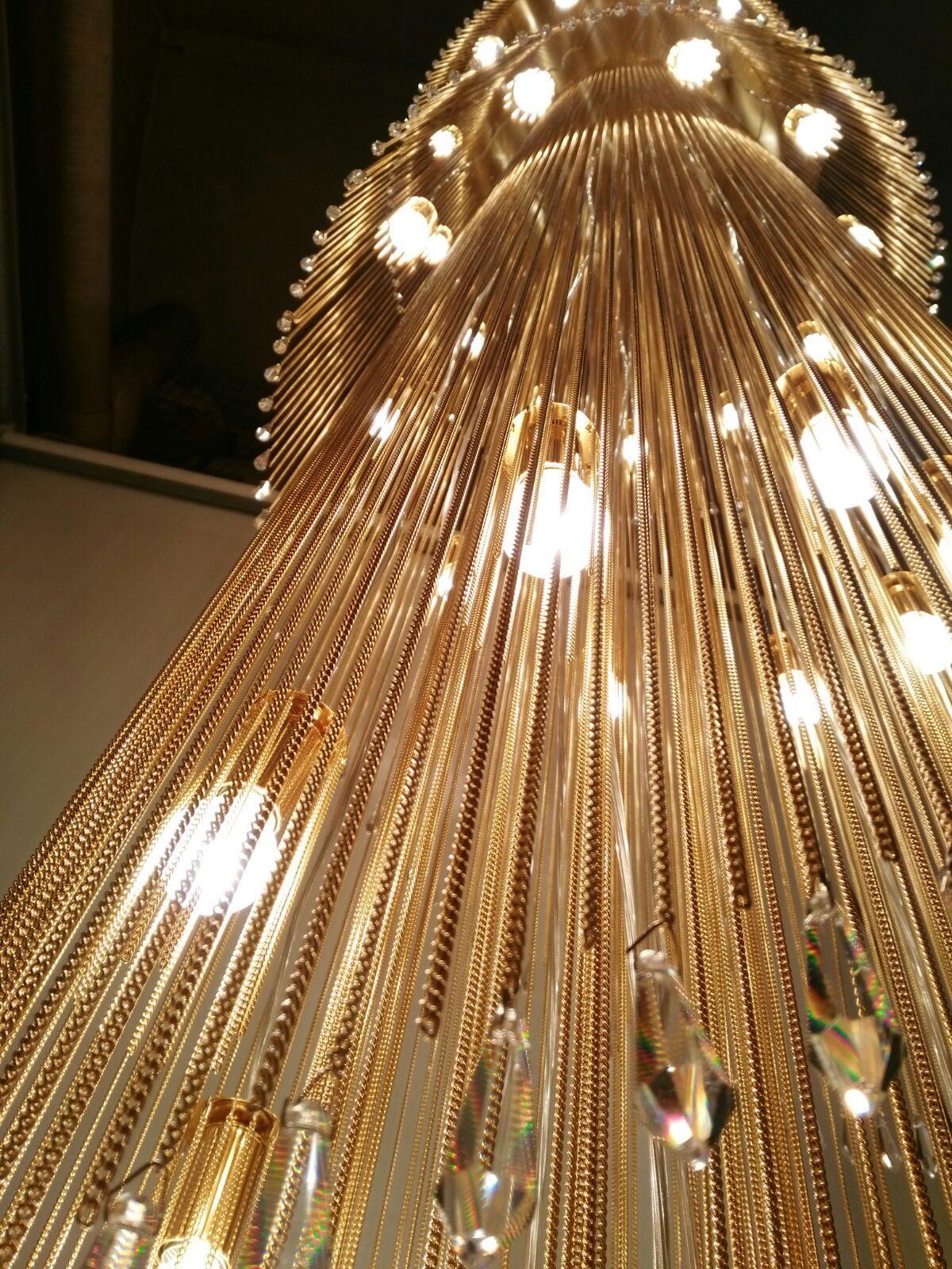 Gold chain chandelier 5 meters for balcanic project pendant light gold chain chandelier 5 meters for balcanic project arubaitofo Image collections