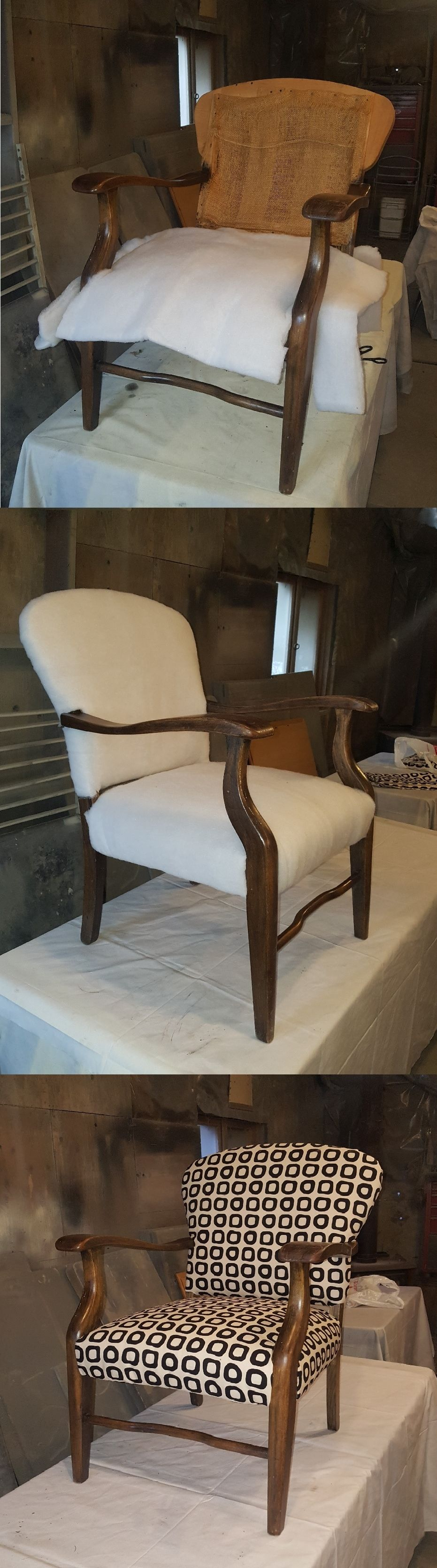 how to reupholster a dining chair with springs