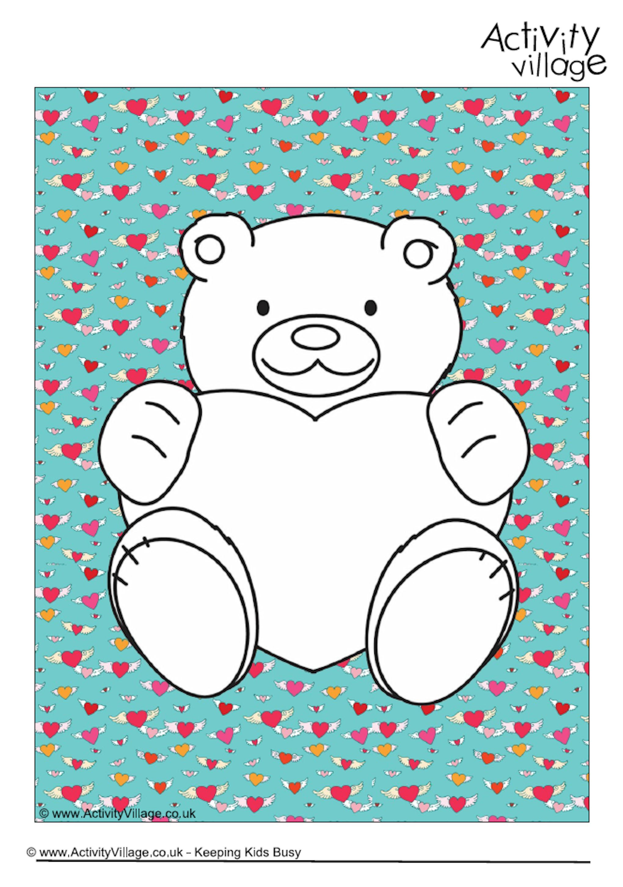 Valentine teddy colouring page 2   Valentine\'s Day for Kids   Pinterest