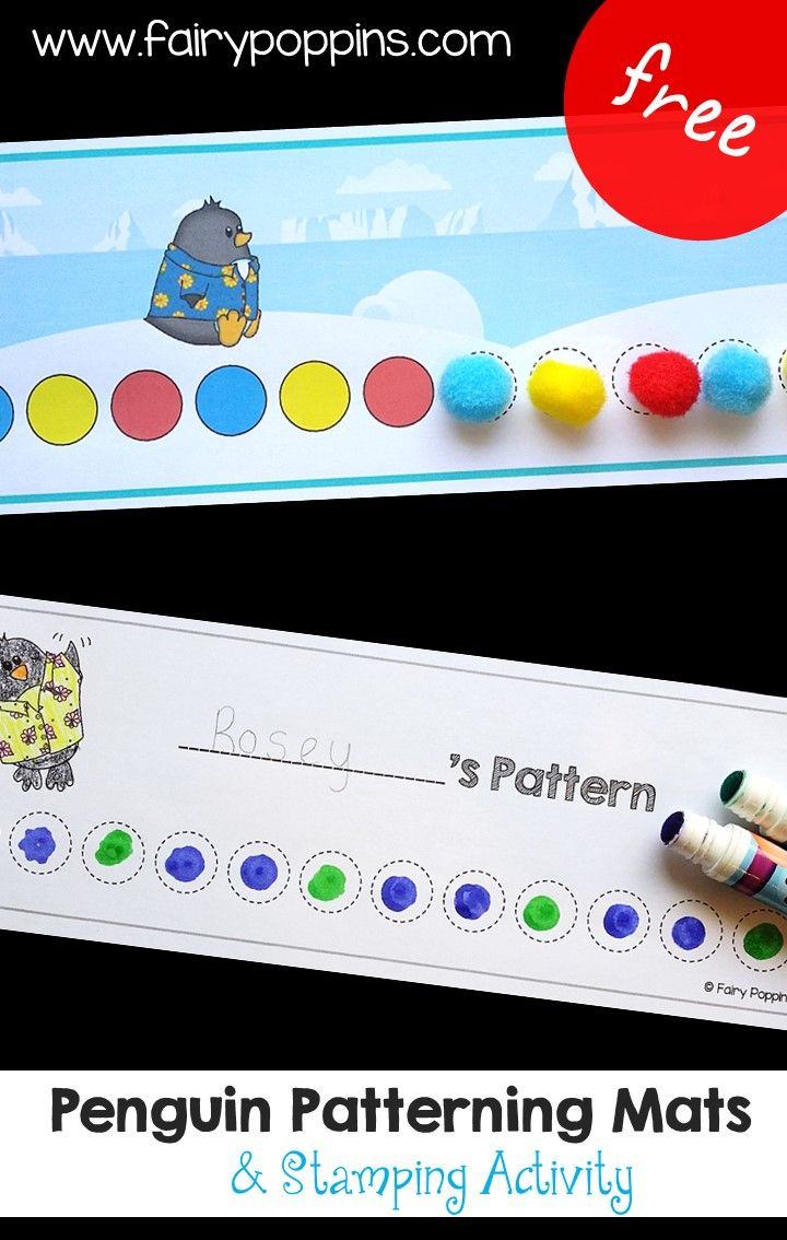 Free Penguin Pattern Mats Fun Preschool Or Kindergarten Math