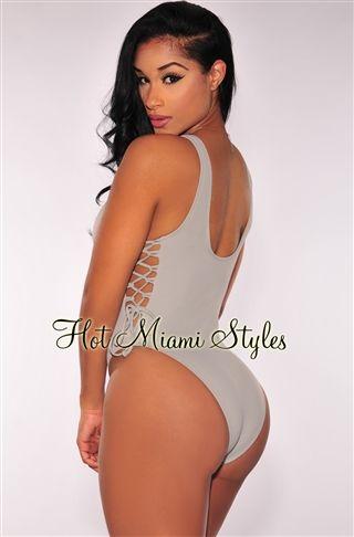 97f8f7cb33d Gray Lace Up High Cut Swimsuit swimwear swim wear bathing suit bikini  summer water - As seen on Jwoww Scrunch Butt Bikini ruched hipster sexy  pucker bottom ...