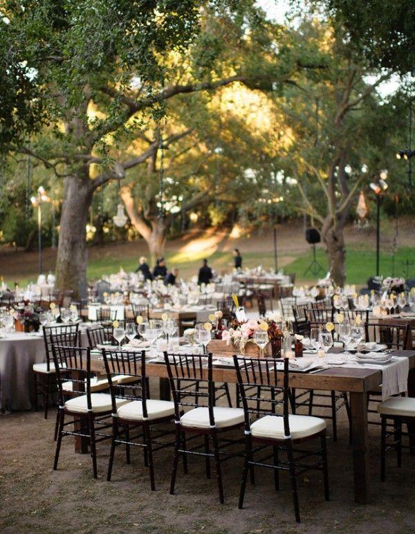 outdoor Garden elegant garden wedding long table reception ...