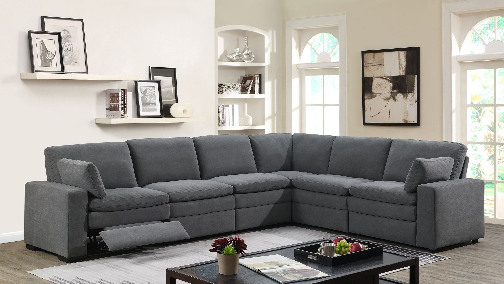 Charcoal gray 6 piece power reclining sectional sofa