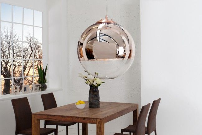 edle design h ngelampe globe 30cm glas kupfer kugelleuchte. Black Bedroom Furniture Sets. Home Design Ideas