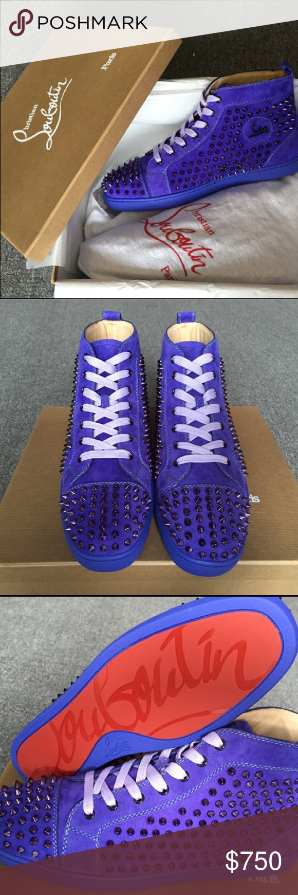 89f5a33e340 Christian Louboutin Louis Spike flat Pervenche Met BRAND NEW WITH ...