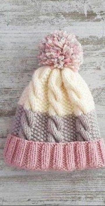 Esplendidos gorros de lana tejidos a palillos con 3 puntos #tejidos