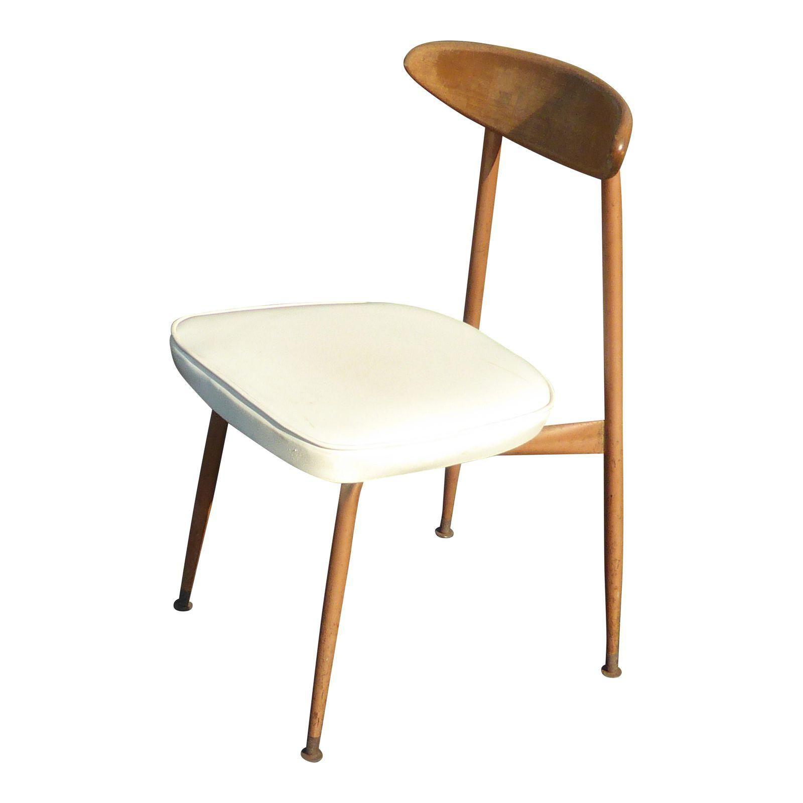 Vintage Danish Mid Century Modern Metal Frame Peg Leg Accent Chair