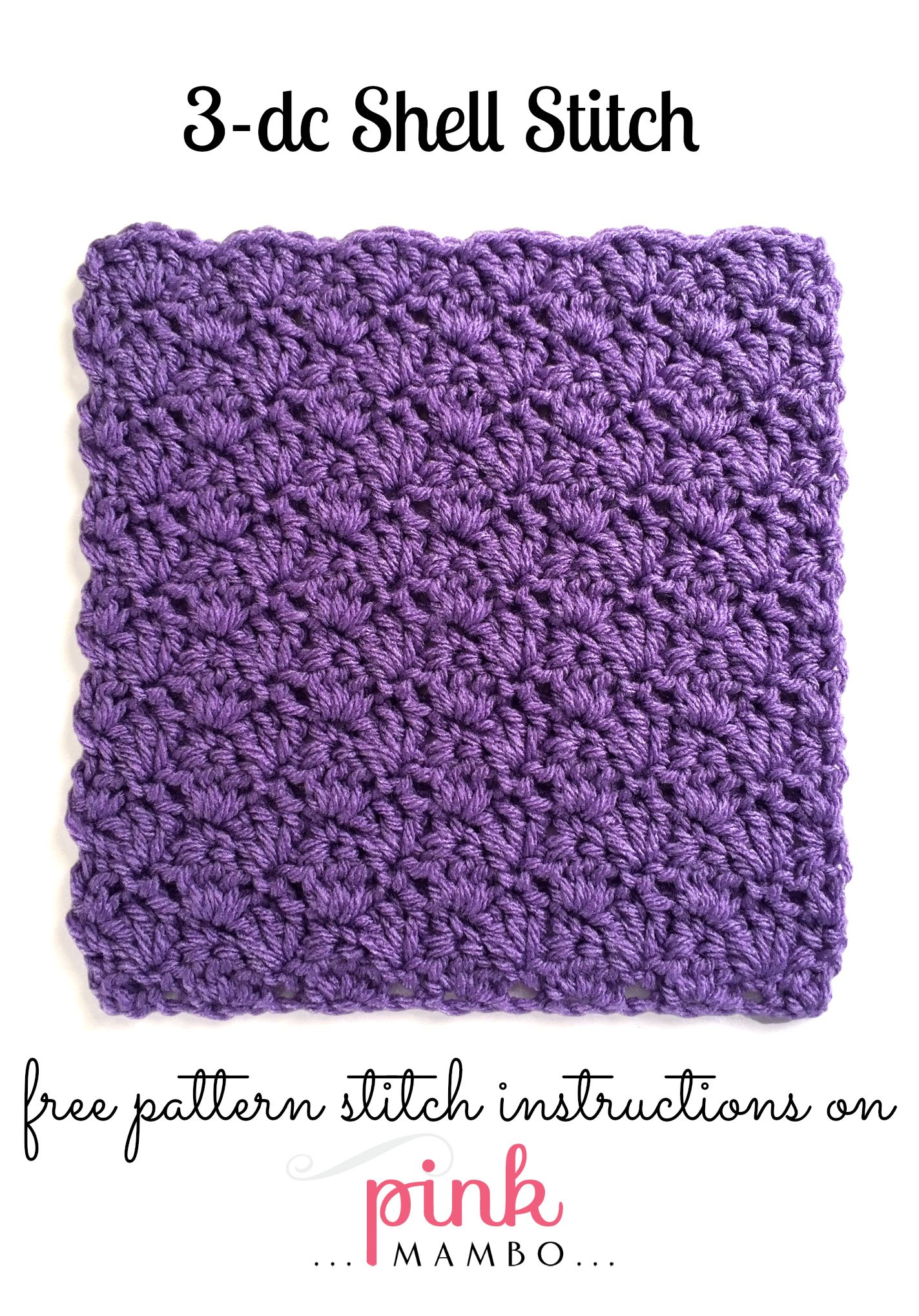 3-Double Crochet Shell Stitch Pattern | Crochet patterns Pink Mambo ...