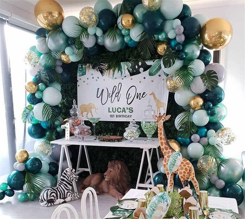 Birthday Banner 111 Pcs Dinosaur Balloon Garland Party Decorations Including Safari Foil Balloon Tropical Palm Leaves and Birthday Cake Topper Dinosaur Birthday Party Supplies Kit