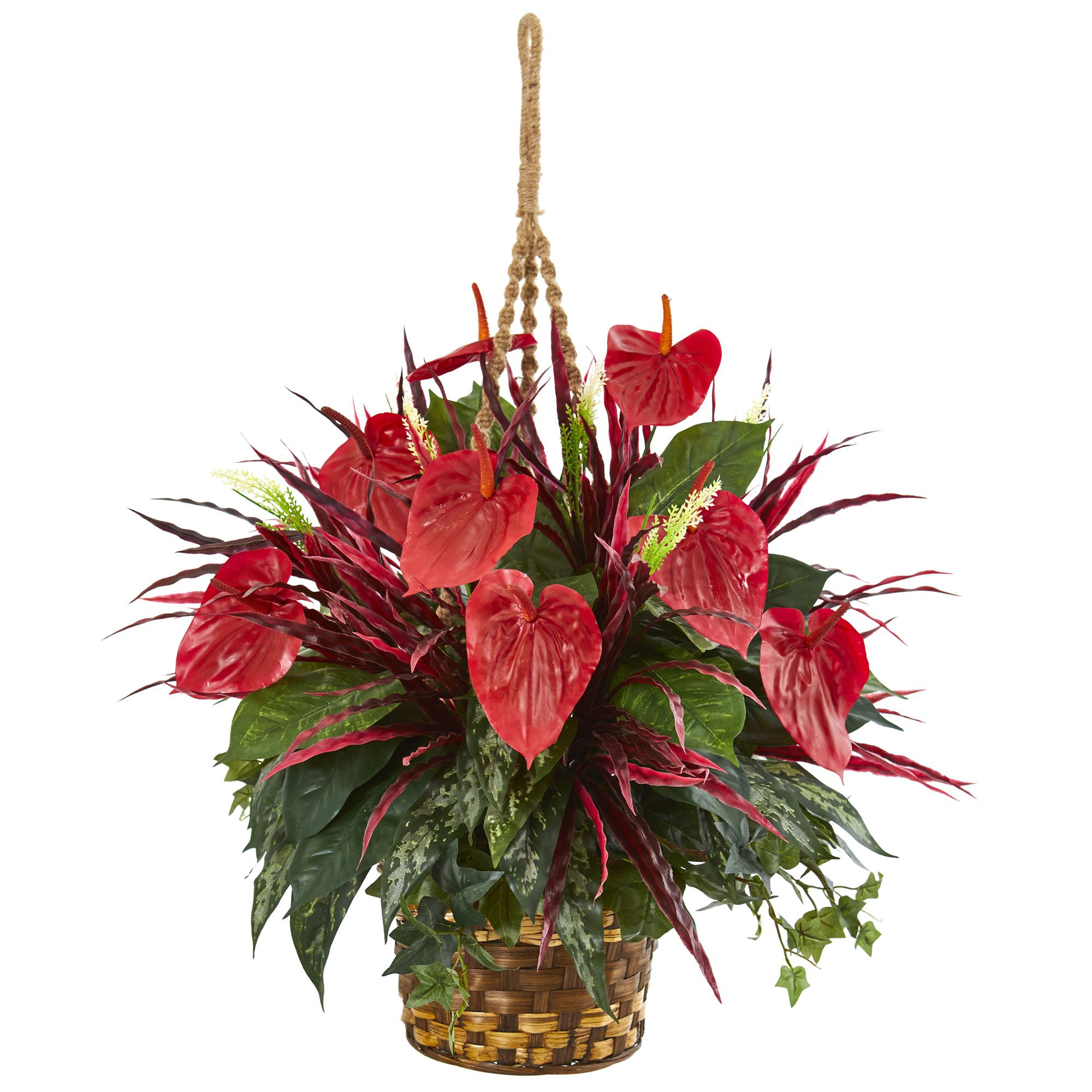 Large Shiny Red Leaves Sit Atop Green Leaves In Various Hues With This Artificial A Artificial Plant Wall Artificial Plant Arrangements Artificial Plants Decor