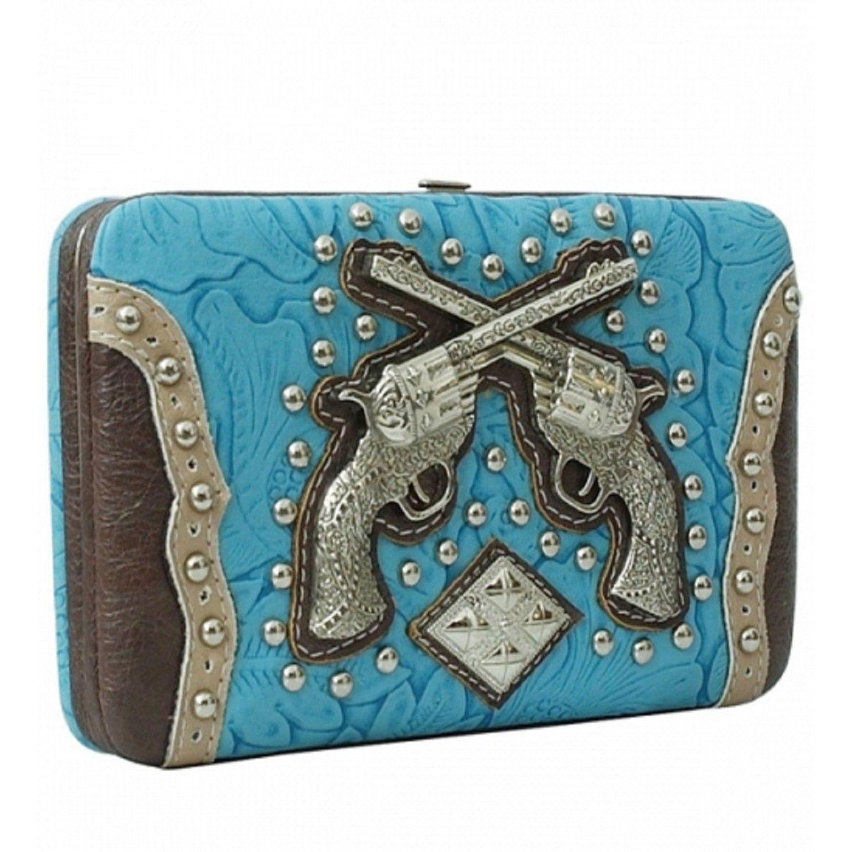 Handbags, Bling & More! Turquoise Western Double Pistol Rhinestone Wallet : Western Style Double Pistol Wallets