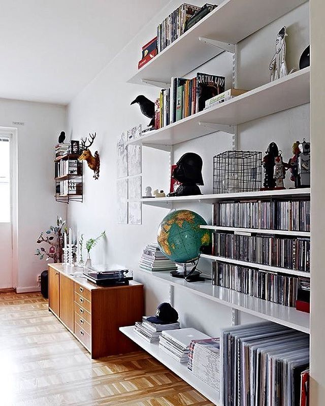 Open shelving for books record storage art living room - Open shelving living room ...