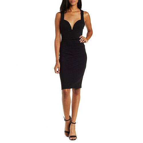 Plunging Caged-Back Bodycon Midi Dress