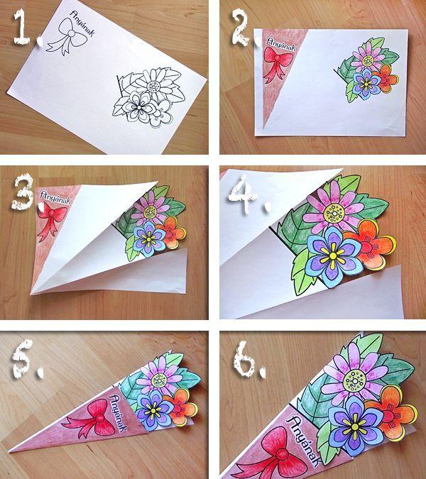 Букет-раскраска | Самодельные открытки, Поделки из цветов ...